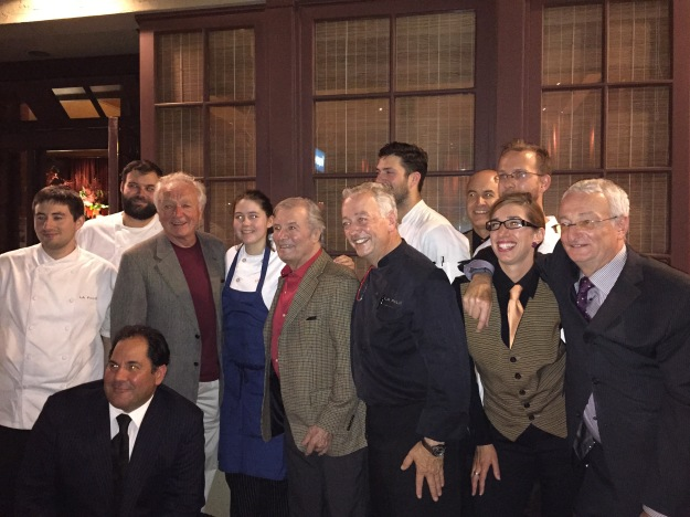 All the French chefs, waiters, and sommeliers outside la Folie