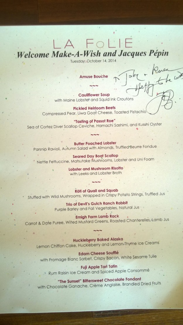 Here is the menu for our dinner