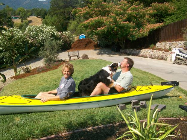Trying out my dad's kayak in our front yard, 2008