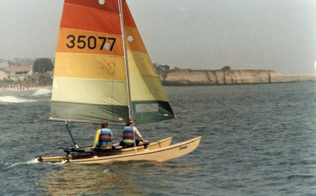 Karen and I got our start sailing together. Here we are setting sail in Santa Cruz in 1987.