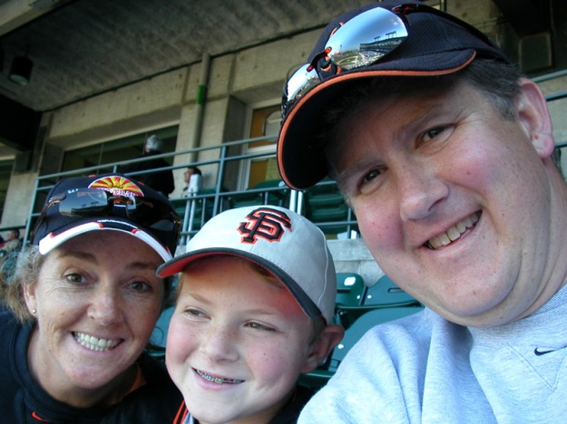 Enjoying a baseball game with Brian, 2005