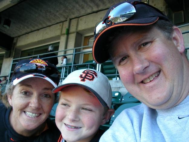 Enjoying a baseball game with Brian, 2005