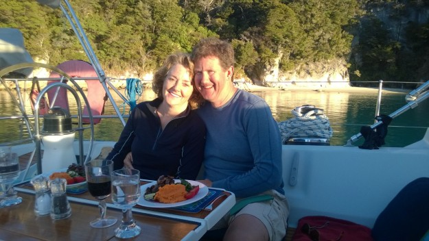 Enjoying dinner on a sailboat in New Zealand, 2014