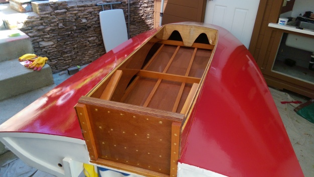 View from the rear. Transom will be white, with blue trim, and the motorboard will remain stained