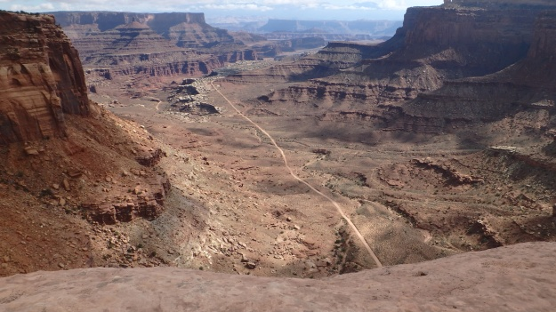 At Schaefer Point, looking down at the White Rim below